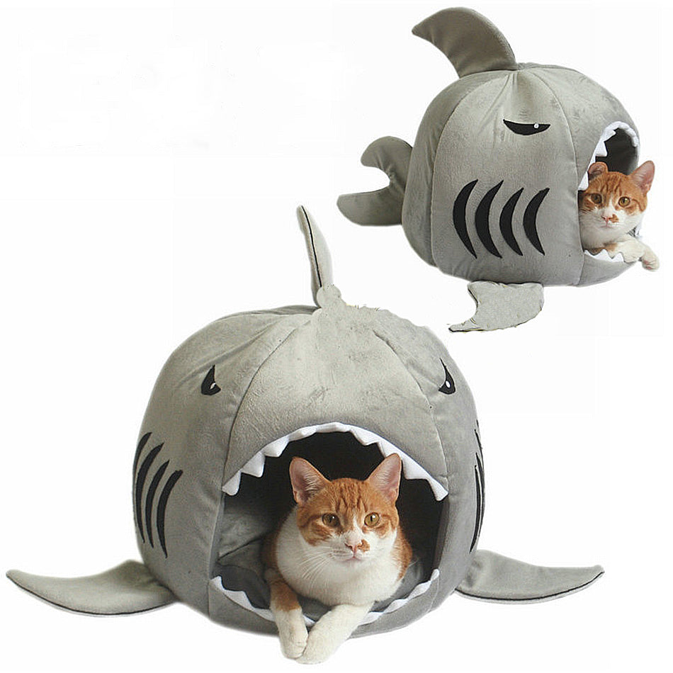 Shark Kennel Pet Cat Sleeping Cave Bed - Diddo Furry Tails Pet Store