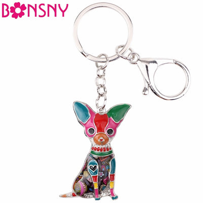 Bonsny Enamel Chihuahuas Dog Key Chain - Diddo Furry Tails Pet Store