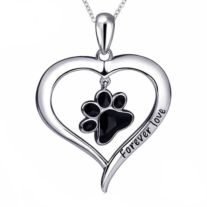 Silver Enamel Dog Paw Necklace - Diddo Furry Tails Pet Store