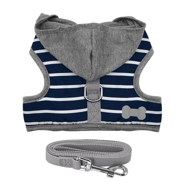 Adjustable Stripe Dog Hoodie Vest Harnesses - Diddo Furry Tails Pet Store