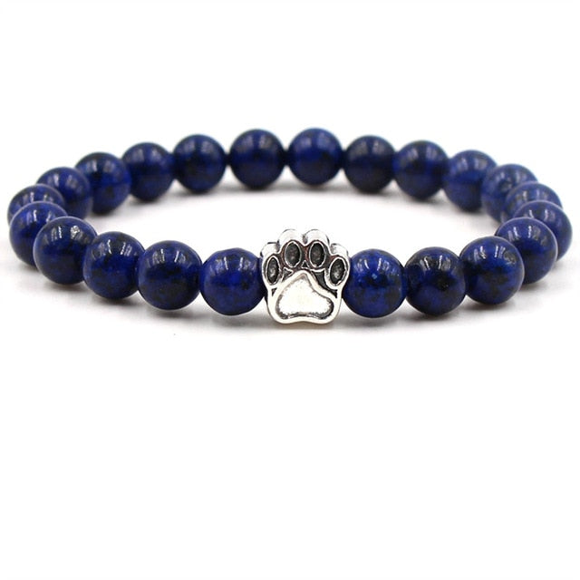Natural Stone Beads  Footprint Paw Charms Bracelet - Diddo Furry Tails Pet Store