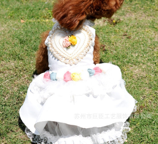 Flower Rose Satin Beaded Wedding  Dog Dress - Diddo Furry Tails Pet Store