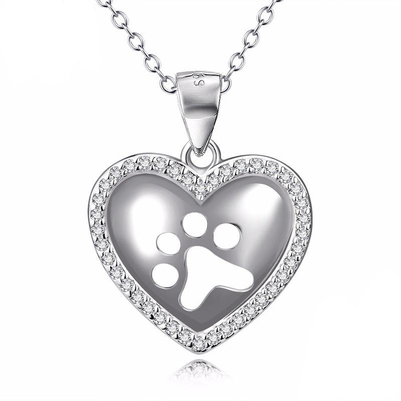 Hollow out love heart dog paw print pendants paw heart necklace hollow out love heart dog paw print pendants necklaces diddo furry tails pet store aloadofball Images