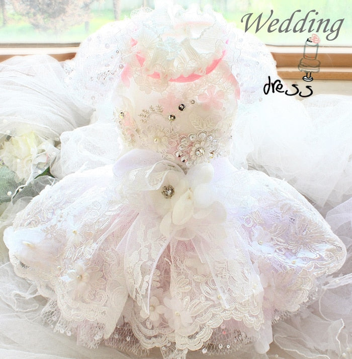 Handmade luxurious embroidery lace dog clothes wedding dresses - Diddo Furry Tails Pet Store