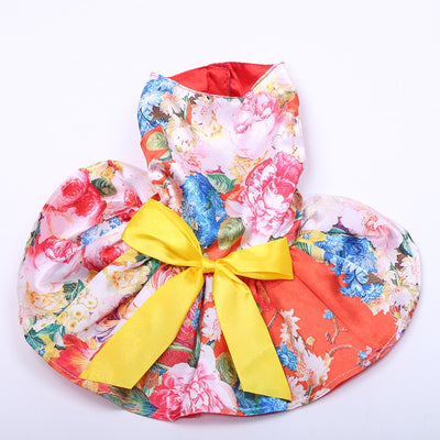 Floral & Bow Dress Tutu Dog Dress - Diddo Furry Tails Pet Store