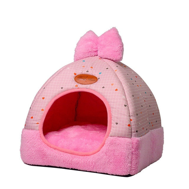 Soft Warm Fleece Lovely Bow Cat Bed - Diddo Furry Tails Pet Store