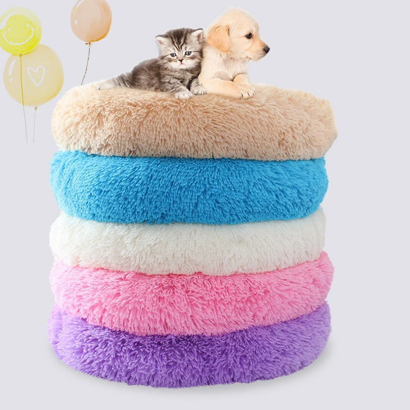 Round Plush Bagel Pet Bed - Diddo Furry Tails Pet Store