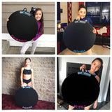4 dancers holding authentic marley round portable turn board dot2dance personalized with names