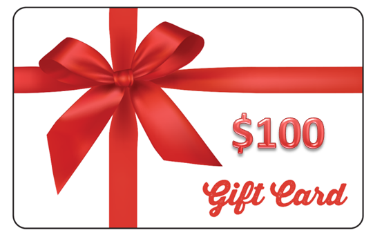 $100 Gift card with Impact Gel logo and red bow