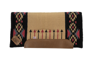 Aim High Straightback Woven Saddle Pad: tan, black, and pink with arrow and diamond pattern