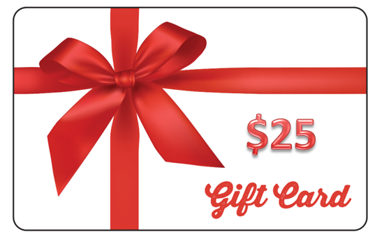 $25 Gift card with Impact Gel logo and red bow