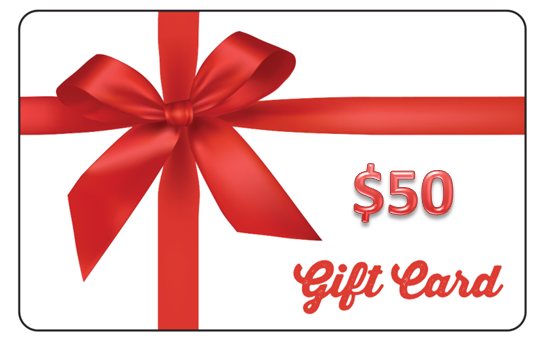 $50 Gift card with Impact Gel logo and red bow