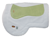 White plush AQHA Saddle pad with Impact Gel and Wilker's logos. Impact Gel Technology bladder is overlayed to show placement inside the pad.