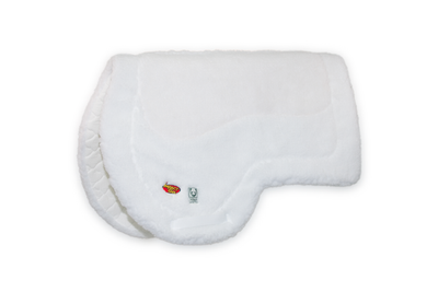 White plush AQHA Saddle pad with Impact Gel and Wilker's logos