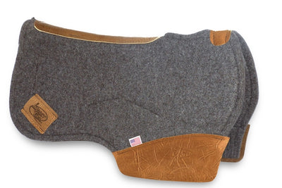 Barrel Saddle Pad with rounded skirt in gray felt with brown leather