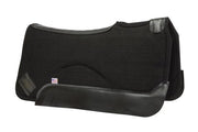 Contour saddle pad in black felt with black leather