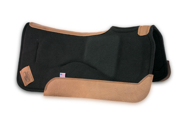 Set-Back Saddle Pad- black with brown leather