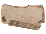 Contour tan saddle pad with brown leather at the spine and snake print wear leather