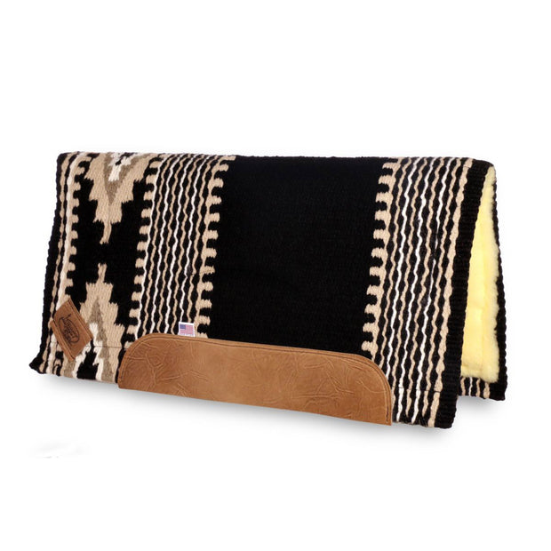 Straightback Cowtown Woven Saddle Pad in black, tan, and white with stripe and diamond shape pattern and fleece underside