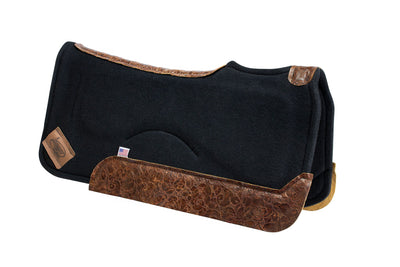 Contour saddle pad in black felt with brown floral leather