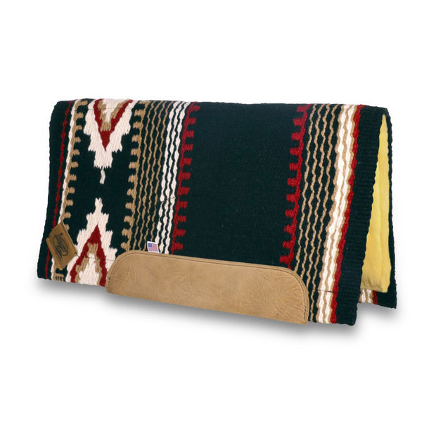Straightback Cowtown Woven Saddle Pad in black, red, and white with stripe and diamond shape pattern and fleece underside