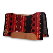 Contour Riverland Woven Saddle Pad- red and black with brown leather