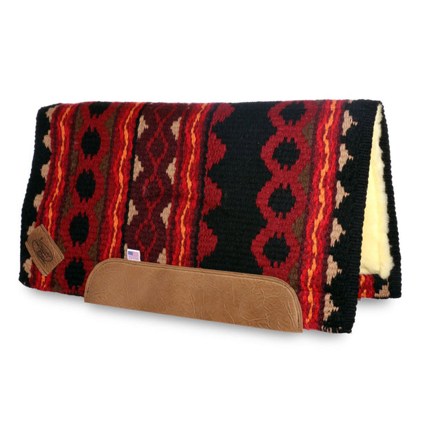 Straightback Riverland Woven Saddle Pad- red and black with brown leather with fleece