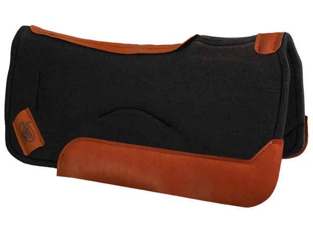 Black contour saddle pad with burnt red leather