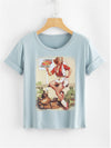 Women's Tee with Red Vintage Pin-up Girl