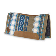Contour Riverland Woven Saddle Pad- blue, turquoise, and brown with brown leather