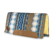 Straightback Riverland Woven Saddle Pad- blue, turquoise, and brown with brown leather with fleece