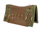 Aim High Contour Cut Woven Saddle Pad: green, tan, and yellow with arrow and diamond pattern