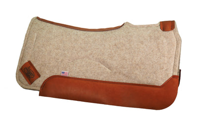 Contoured saddle pad in tan felt with burnt orange colored leather