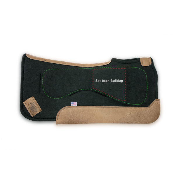 Set-Back Saddle Pad- black with brown leather, outlines show placement of Impact Gel technology and built up area