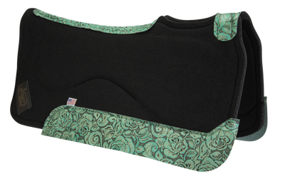 Black saddle pad with teal floral leather