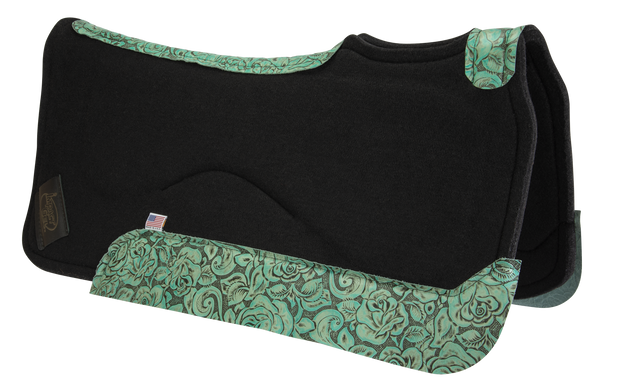 Contour Classic Saddle Pad- Black with Teal Floral Wear Leather