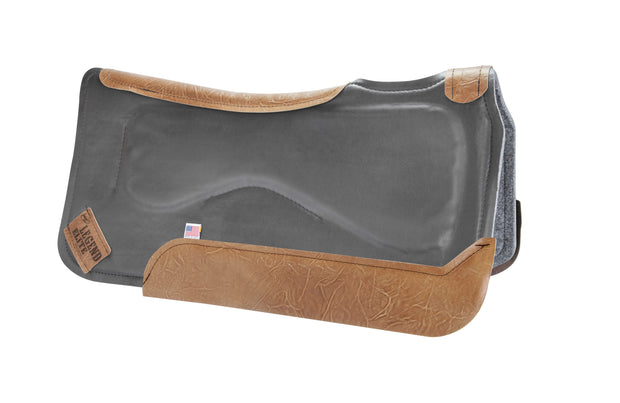 Legend Elite Saddle Pad with gray felt underside, gray eco-friendly leather cover, and brown leather finishing