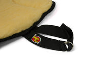 Saddle Seat Cushion with cream fleece- close up view of D-ring adjustable strap