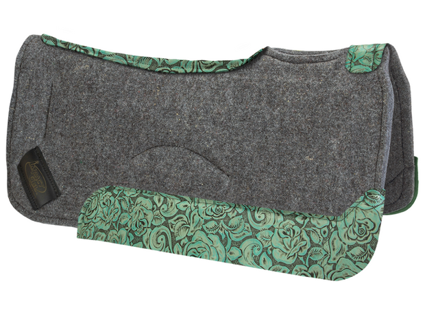 Contour gray saddle pad with teal floral leather