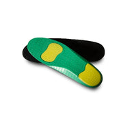 World's Greatest Insoles- pair with black surface, green and yellow bottom