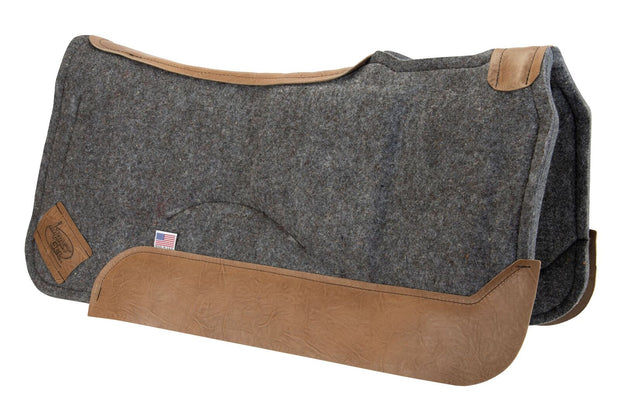 Set-Back Saddle Pad- gray with brown leather