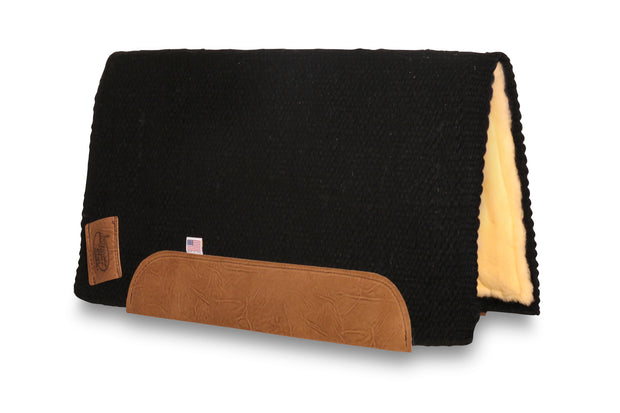 Straightback San Juan Solid Black Woven Saddle Pad- black with fleece