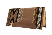 Straightback Cowtown Woven Saddle Pad in tan, brown, and black with stripe and diamond shape pattern and fleece underside