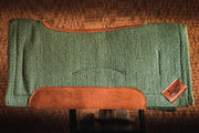 Contour Spring Woven Saddle Pad- sage green with brown leather