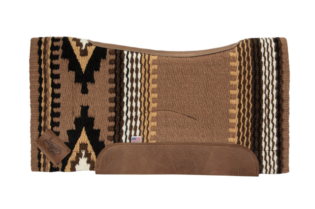 Contour Cowtown Woven Saddle Pad in tan, brown, and white with stripe and diamond shape pattern