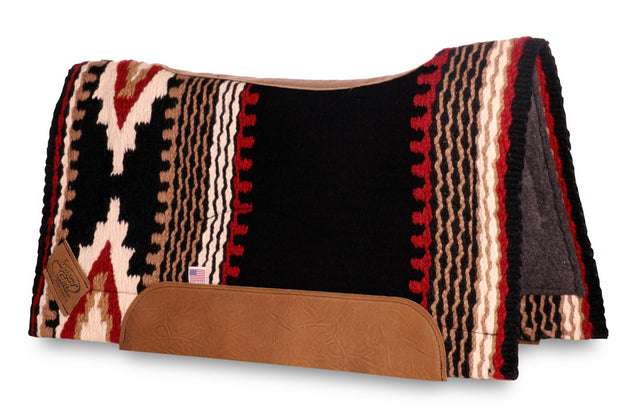 Contour Cowtown Woven Saddle Pad in black, red, and tan with stripe and diamond shape pattern