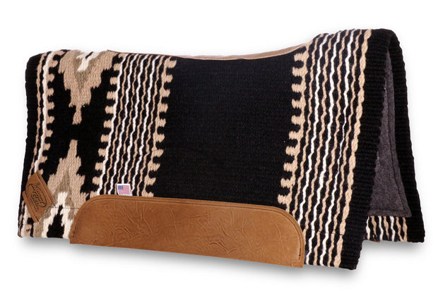 Contour Cowtown Woven Saddle Pad in black, tan, and white with stripe and diamond shape pattern