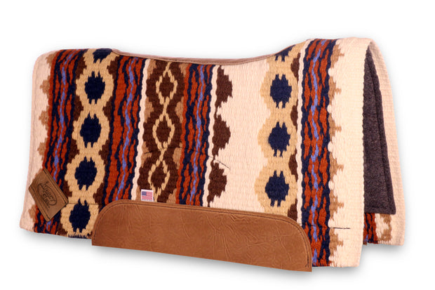 Contour Riverland Woven Saddle Pad- white, brown, and orange with brown leather