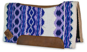 Contour Riverland Woven Saddle Pad- purple and white with brown leather