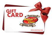 Gift card with Impact Gel logo and red bow